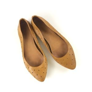 madewell • tan hole punch skimmer flats pointy 8.5